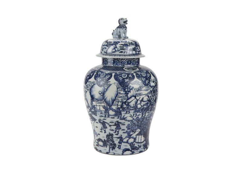 Blue and White Foo Dog Jar ,  , large_gray