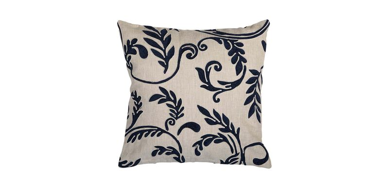 Embroidered Linen Pillow, Navy