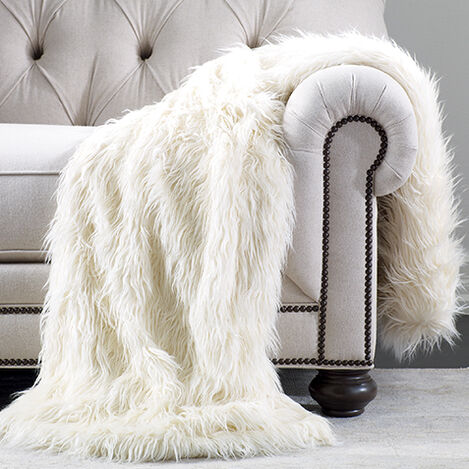 Ivory Faux Fur Throw ,  , large