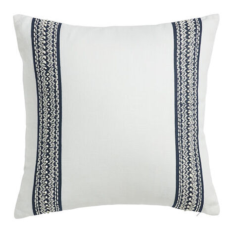White and Navy Taped Pillow Product Tile Image 065669   WHT