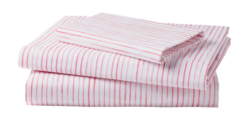 Paint Stripe Sheet Set, Minnie Pink
