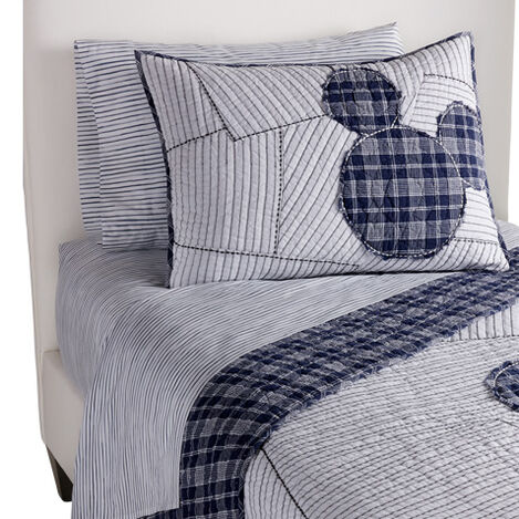 Ticking Stripe Mickey Quilt and Sham ,  , large