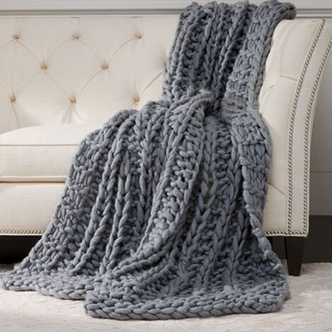 Cross Cable Knit Throw, MidBlue ,  , large