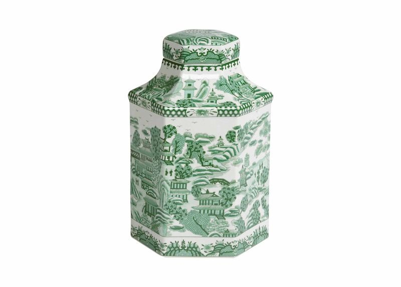 Green and White Hexagon Jar ,  , large_gray