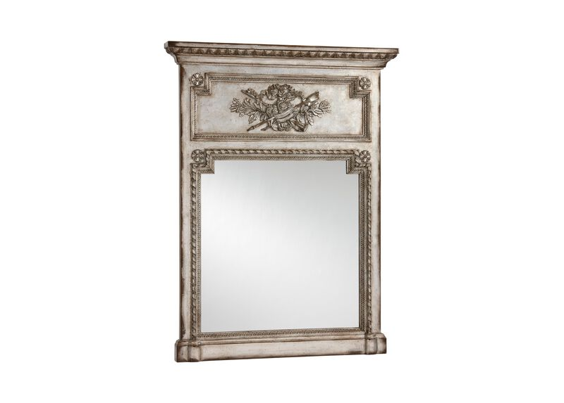 Antique Silver Madeleine Trumeau Wall Mirror
