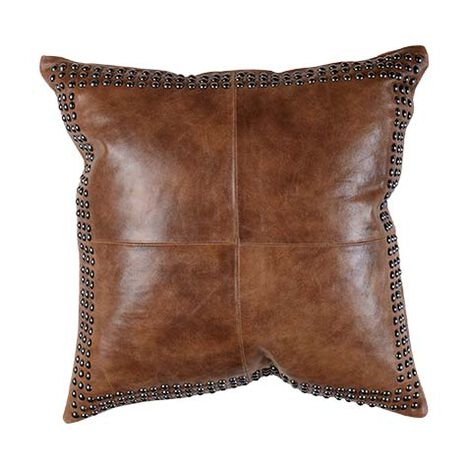Brown Worn Leather Pillow ,  , large