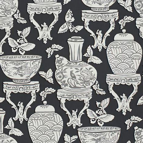 Ginger Jar Black Fabric ,  , large