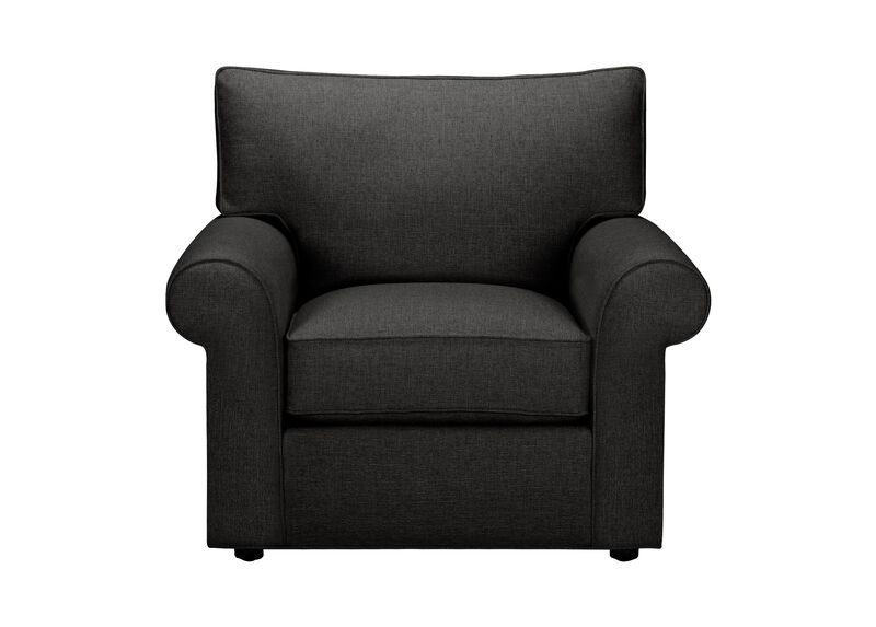 Retreat Roll-Arm Chair, Quick Ship , Hailey Charcoal (Q1055), solid texture , large_gray