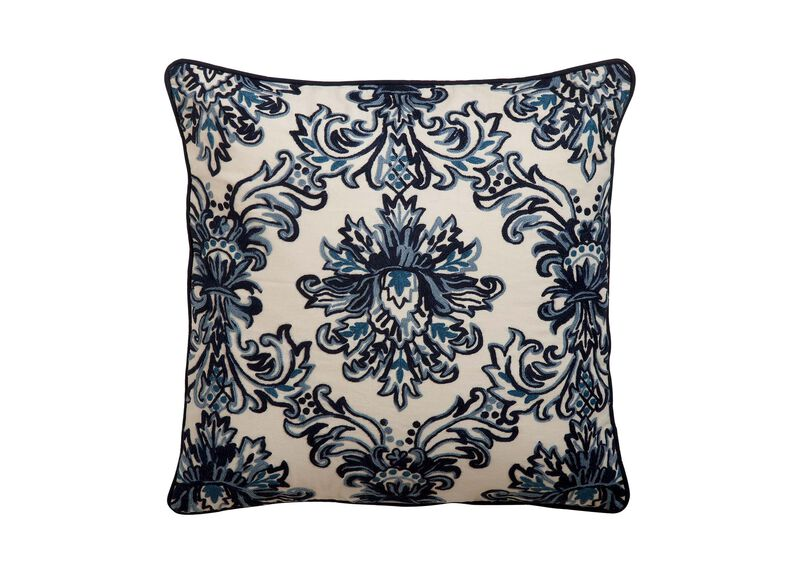 Crewel Embroidered Medallion Pillow, Blue