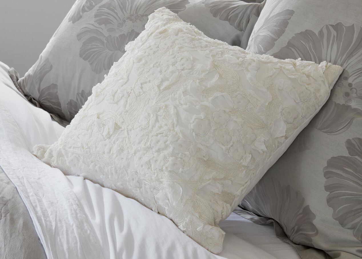 Embellished Floral Pillow Pillows