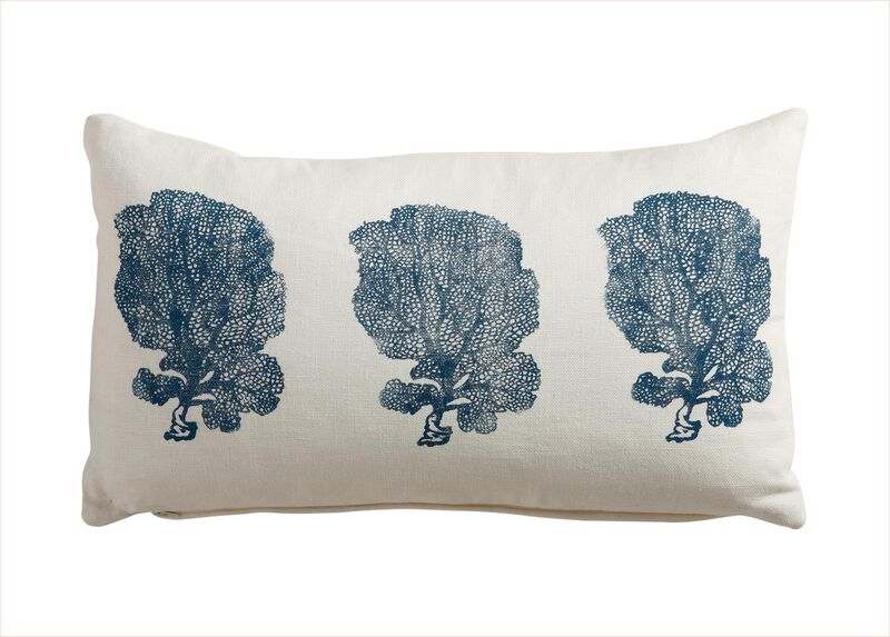 Block-Printed Fan Coral Pillow, Ivory/Blue