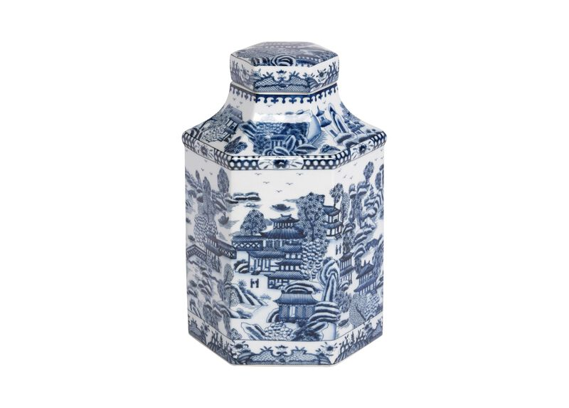 Blue and White Hexagon Jar ,  , large_gray