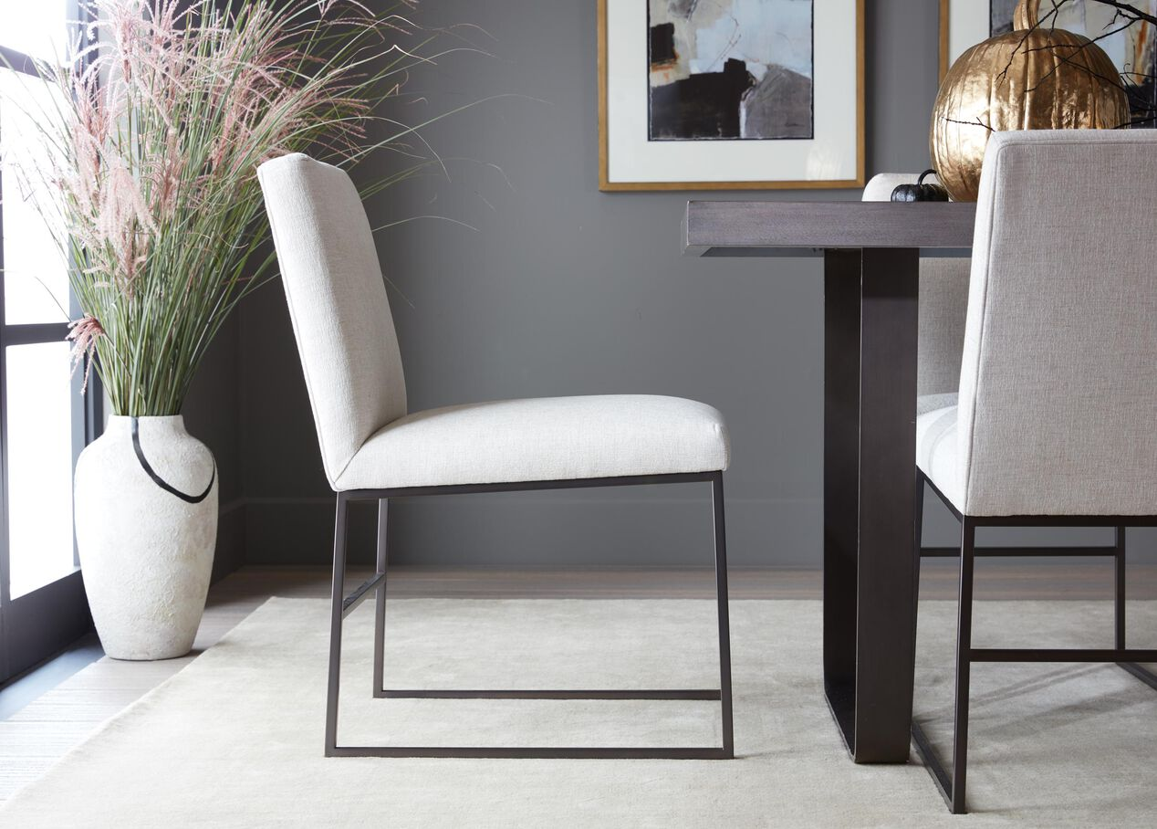 Jewel Dining Chair Metal Base Mixed Material Ethan Allen