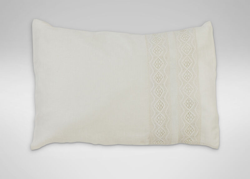 Ivory Linen Sheer Lace Pillowcase ,  , large_gray