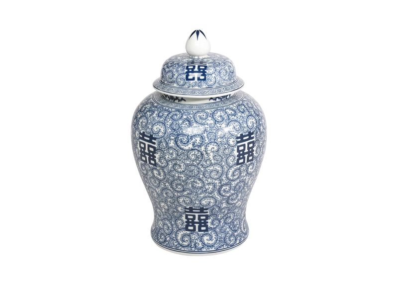 Blue and White Temple Jar ,  , large_gray