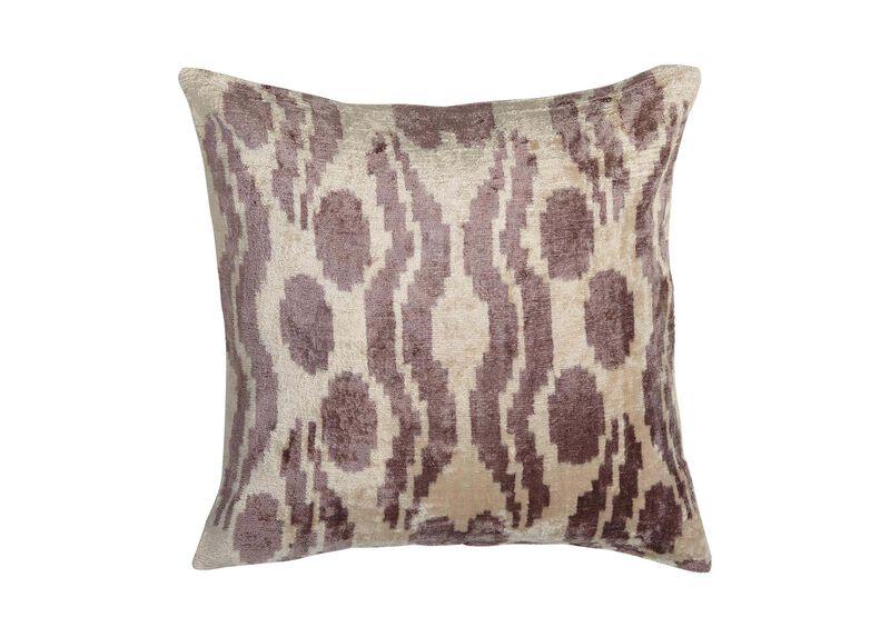 Abstract Ikat Silk Velvet Pillow, Smoky Rose