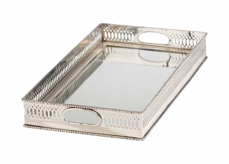 Traditional Mirrored Silver Tray