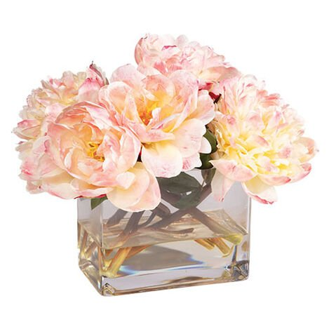 Peach Peonies in Rectangular Glass Vase Product Tile Image 442222