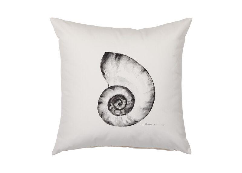 Black and White Nautilus Outdoor Pillow