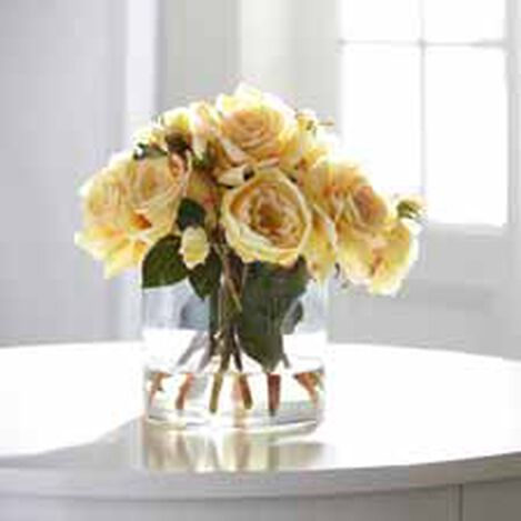 Mixed Yellow Roses in Glass ,  , hover_image