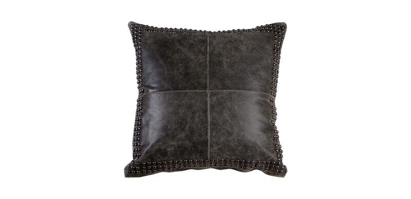 Black Worn Leather Pillow