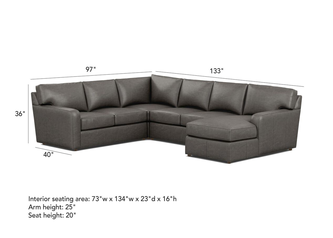 Retreat Track Arm Leather Four Piece Sectional With Chaise
