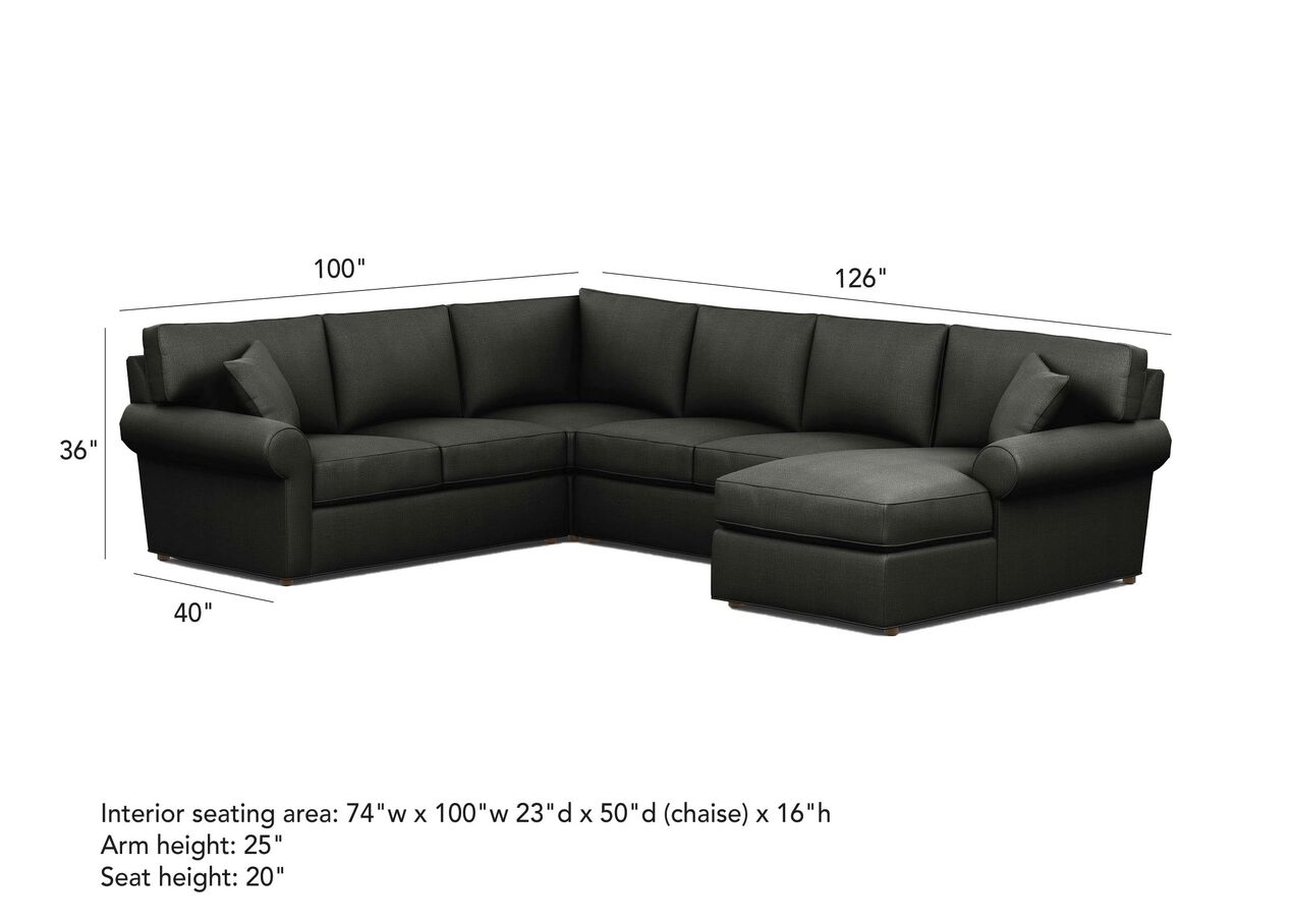 Retreat Roll Arm Four Seat Sectional With Chaise Ethan Allen