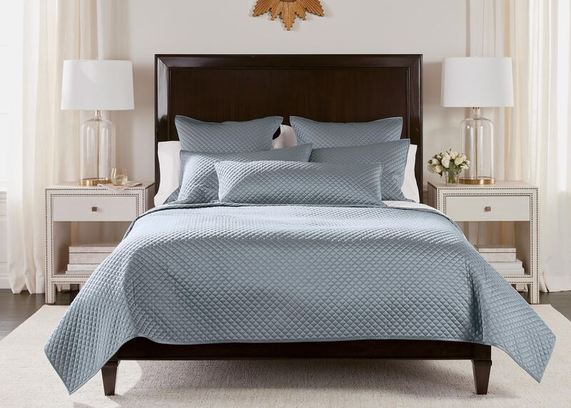 Salena Quilted Coverlet and Shams, Mist Blue