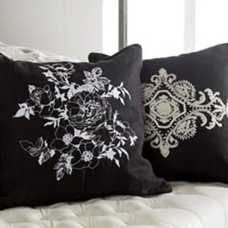 Embroidered Scroll on Black Linen Pillow ,  , hover_image