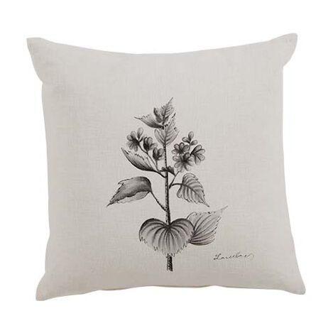 Black and White Botanical Hand-Painted Pillow ,  , large