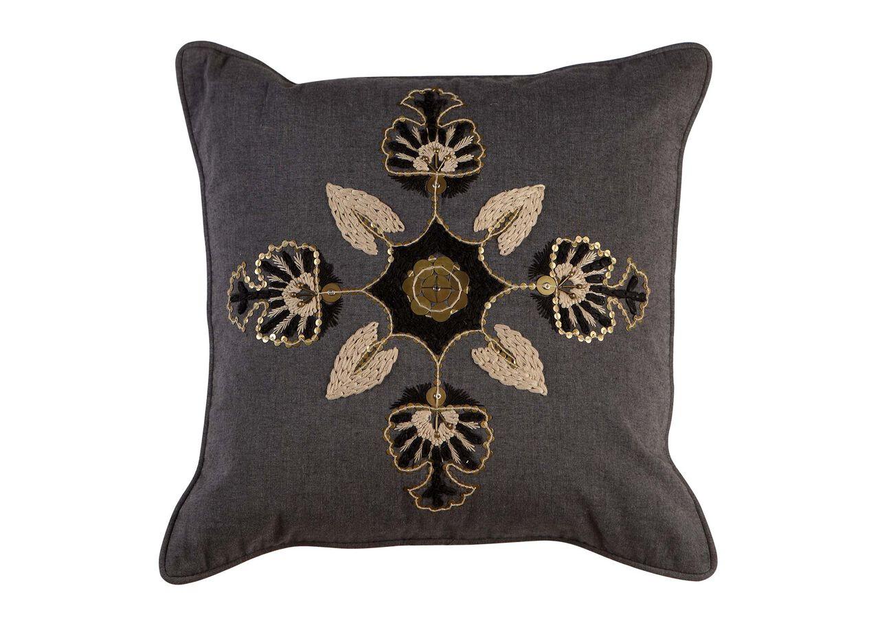 Modern Gray Medallion Pillow Pillows