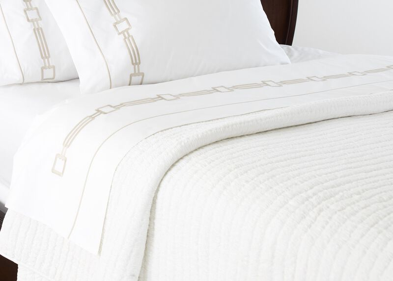 Camdyn Queen Embroidered Flat Sheets, White/Flax