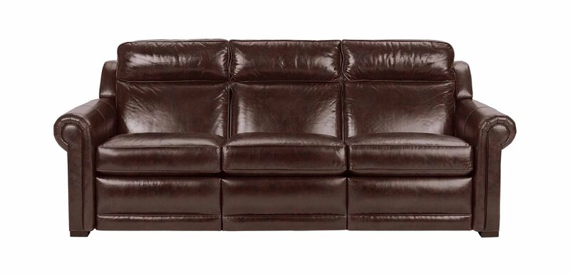 Johnston Roll-Arm Leather Incliner Sofa