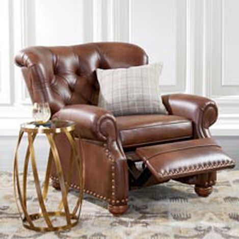 living room recliner.  large Cromwell Leather Recliner hover image Shop Recliners and Fabric Chairs Ethan Allen