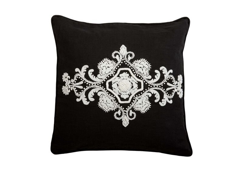 Embroidered Scroll on Black Linen Pillow
