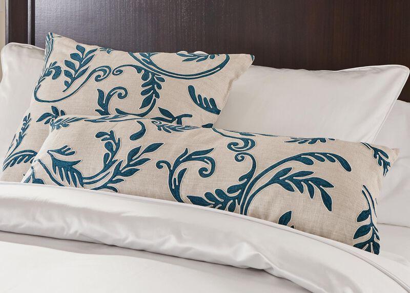 Embroidered Linen Lumbar Pillow