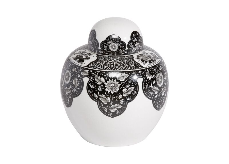 Black and White Round Lidded Jar ,  , large_gray