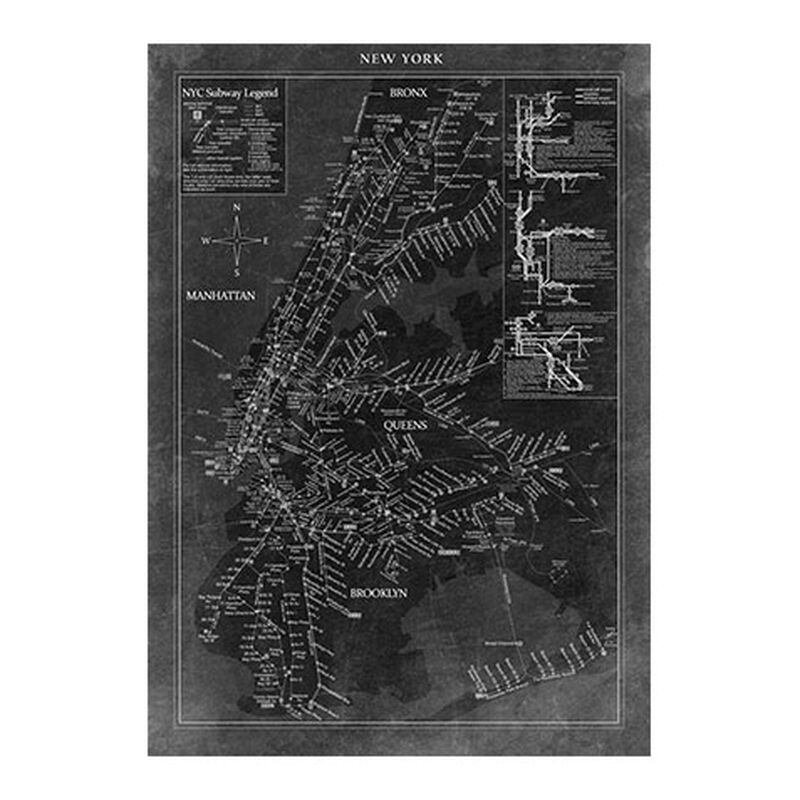 New York Subway Map Black