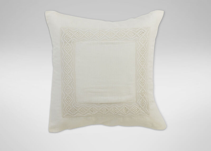 Ivory Linen Sheer Lace Euro Sham ,  , large_gray