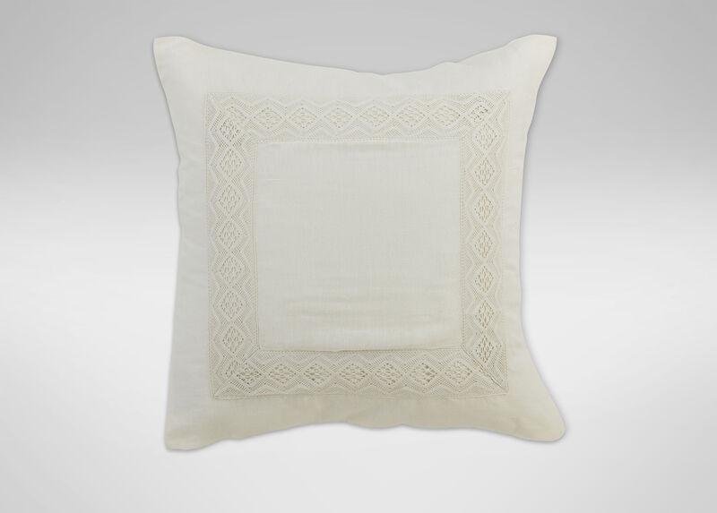 Ivory Linen Sheer Lace Euro Sham | Tuggl