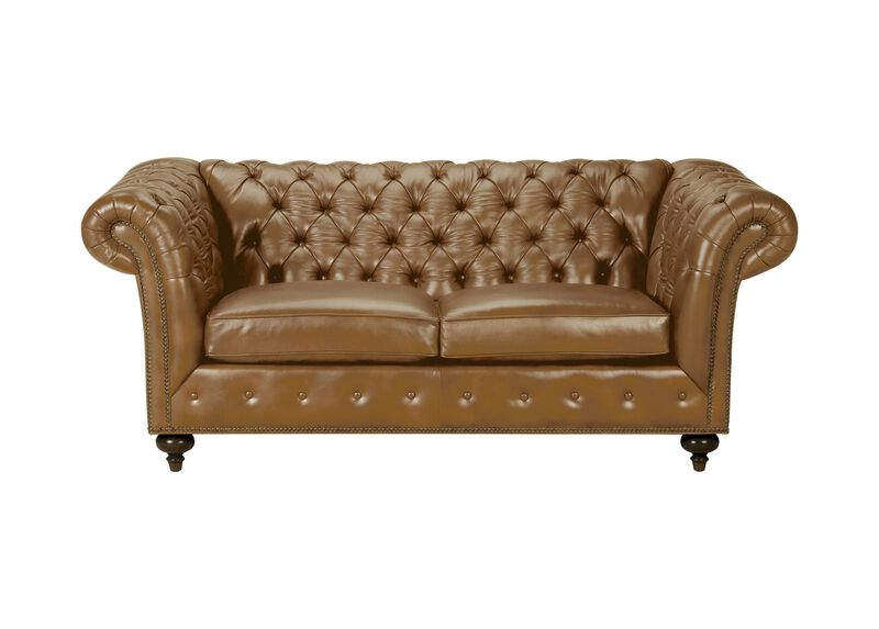 "Mansfield 77"" Leather Sofa, Quick Ship, Omni Camel at Ethan Allen in Ormond Beach, FL 