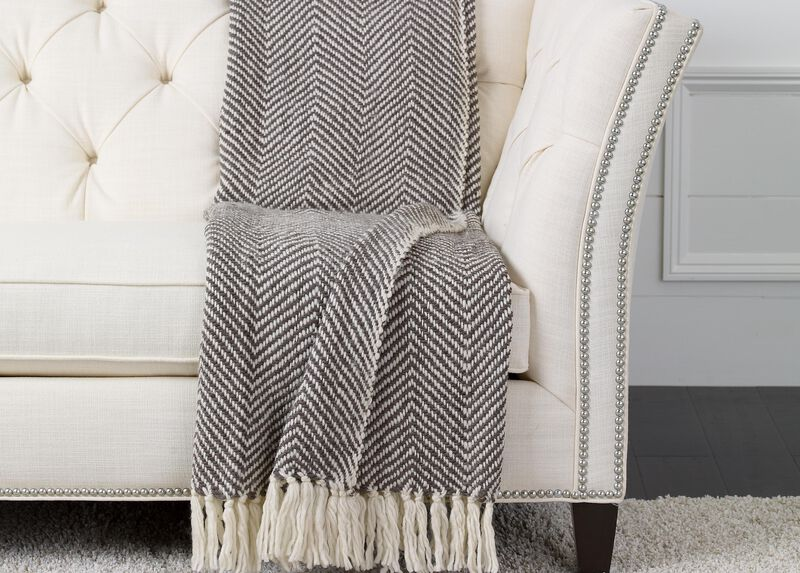 Herringbone Knit Throw, Brown/White | Tuggl