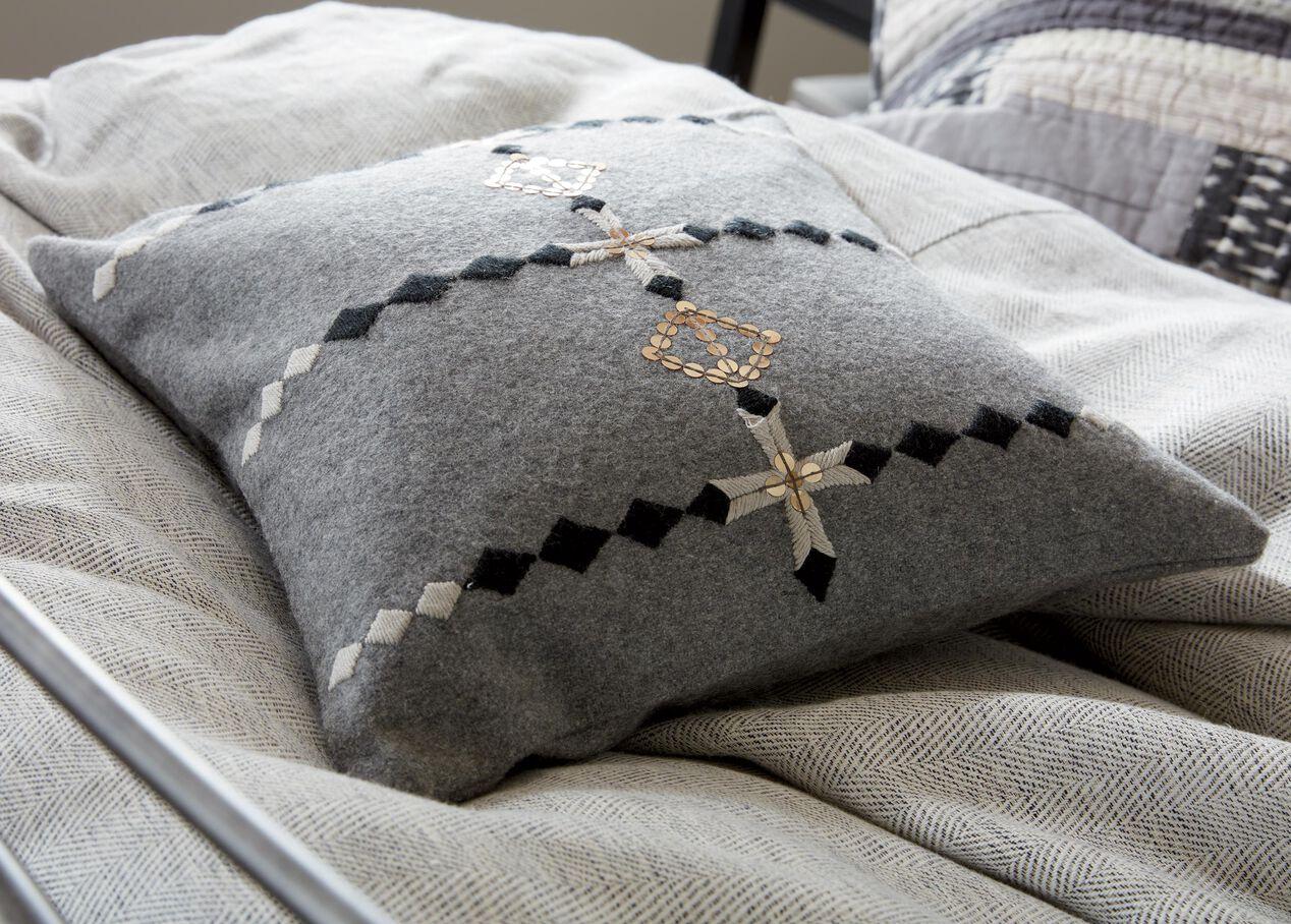 Modern Gray Embellished Pillow