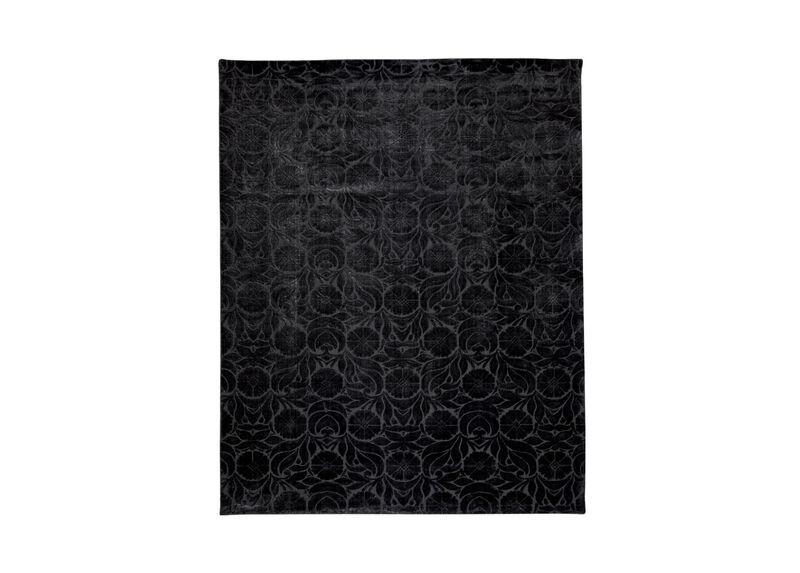 Floral Jacquard Rug, Black