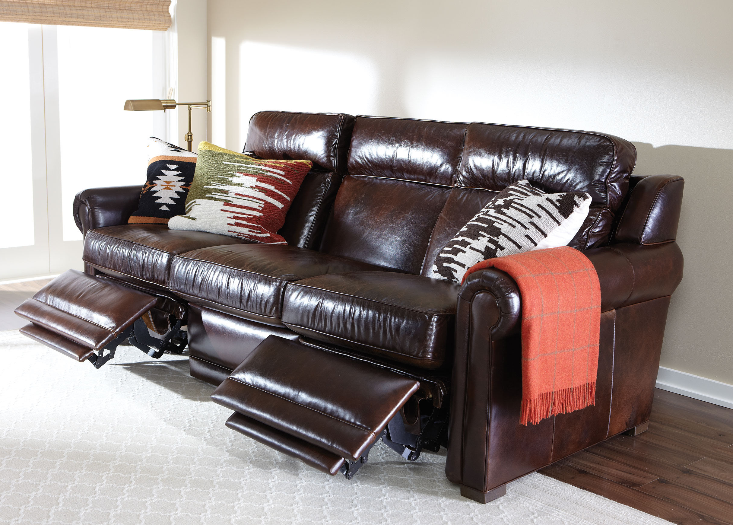 Johnston Roll Arm Leather Incliner Sofa , , Alt