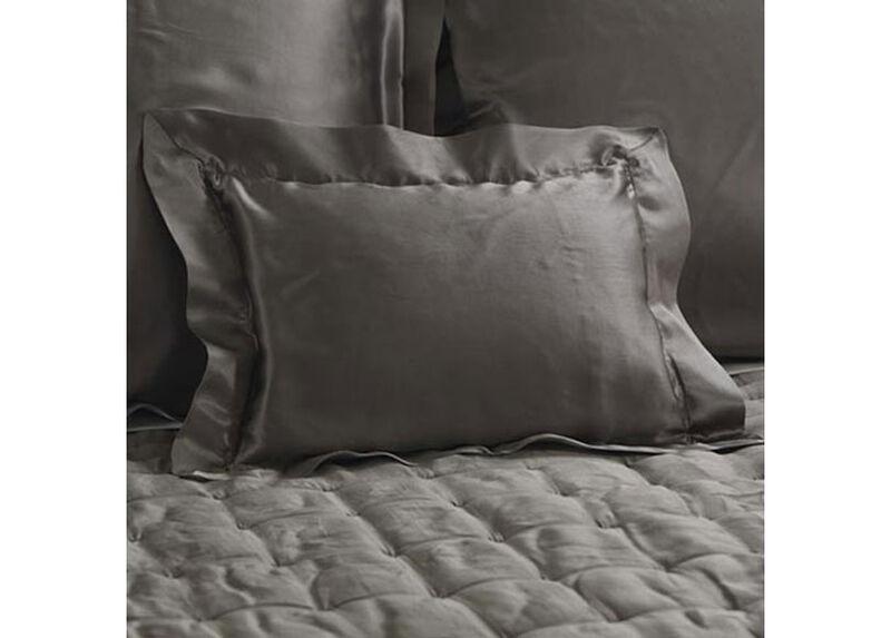 Damaris Gray Silk Boudoir Pillow