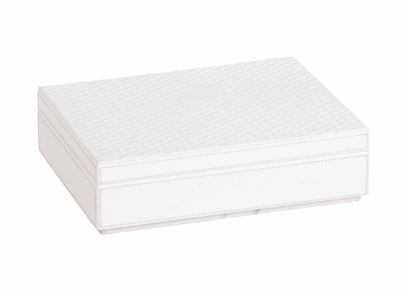 Impressed Leather Box, White