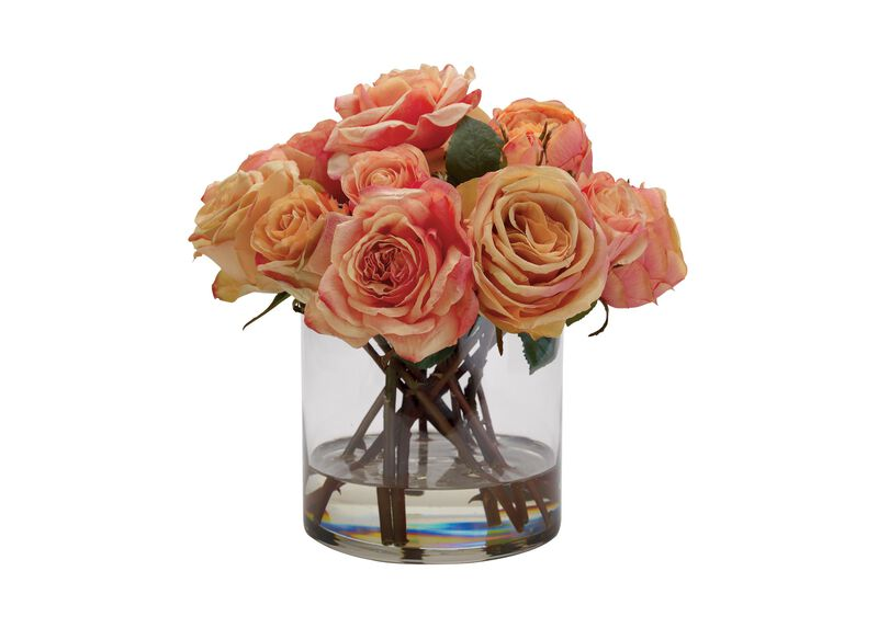 Mixed Orange Roses in Glass