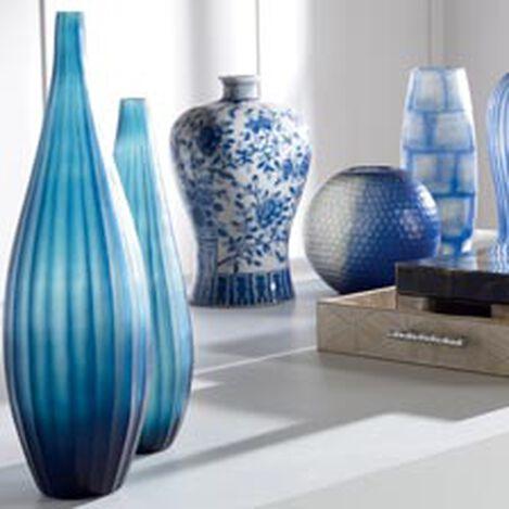 Large Teal Ribbed Vase Hover Image