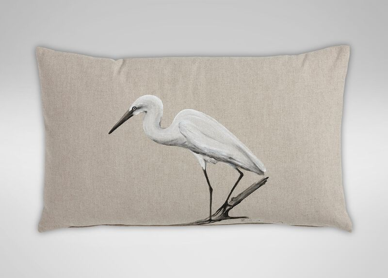 Hand-Painted Bird on Driftwood Pillow ,  , large_gray